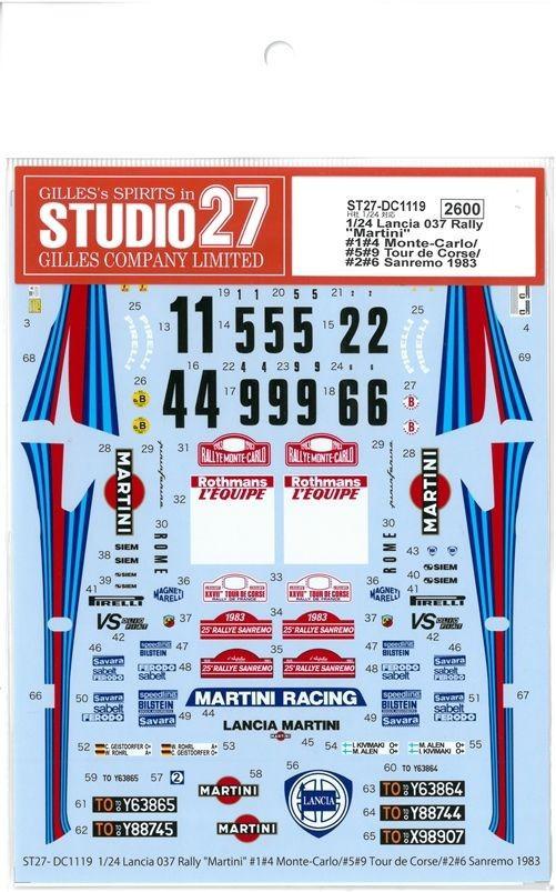 """1/24 Lancia 037Rally """"Martini """" (H社1/24対応)/1#4 Monte-Carlo#5#9 Tour de Corse/ #2#6 Sanremo 1983"""