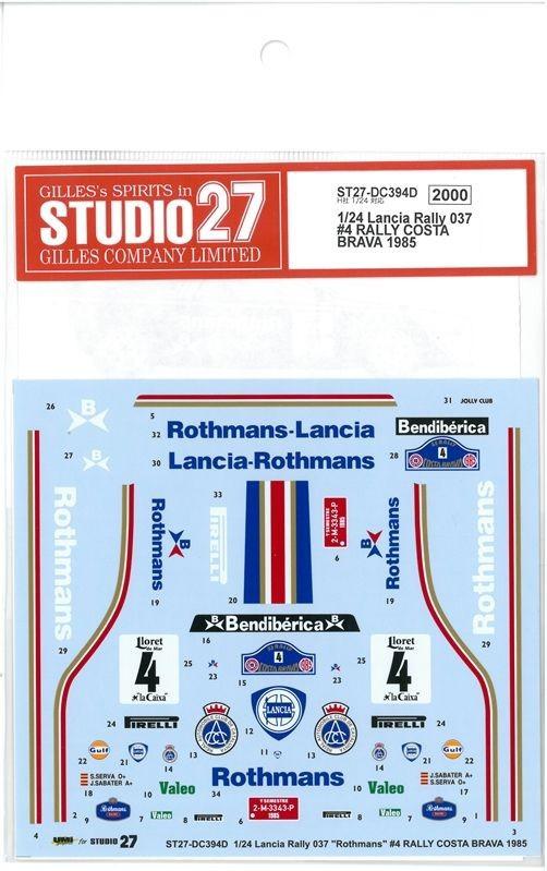 "1/24 Lancia Rally037 ""Rothmans""#4 RALLY COSTA BRAVA 1985(H社1/24 Lancia Rally037対応)"