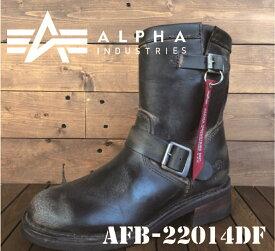 AFD-22014df ALPHA エンジニアブーツ アルファ ブラック 革 加工 Black ブーツ