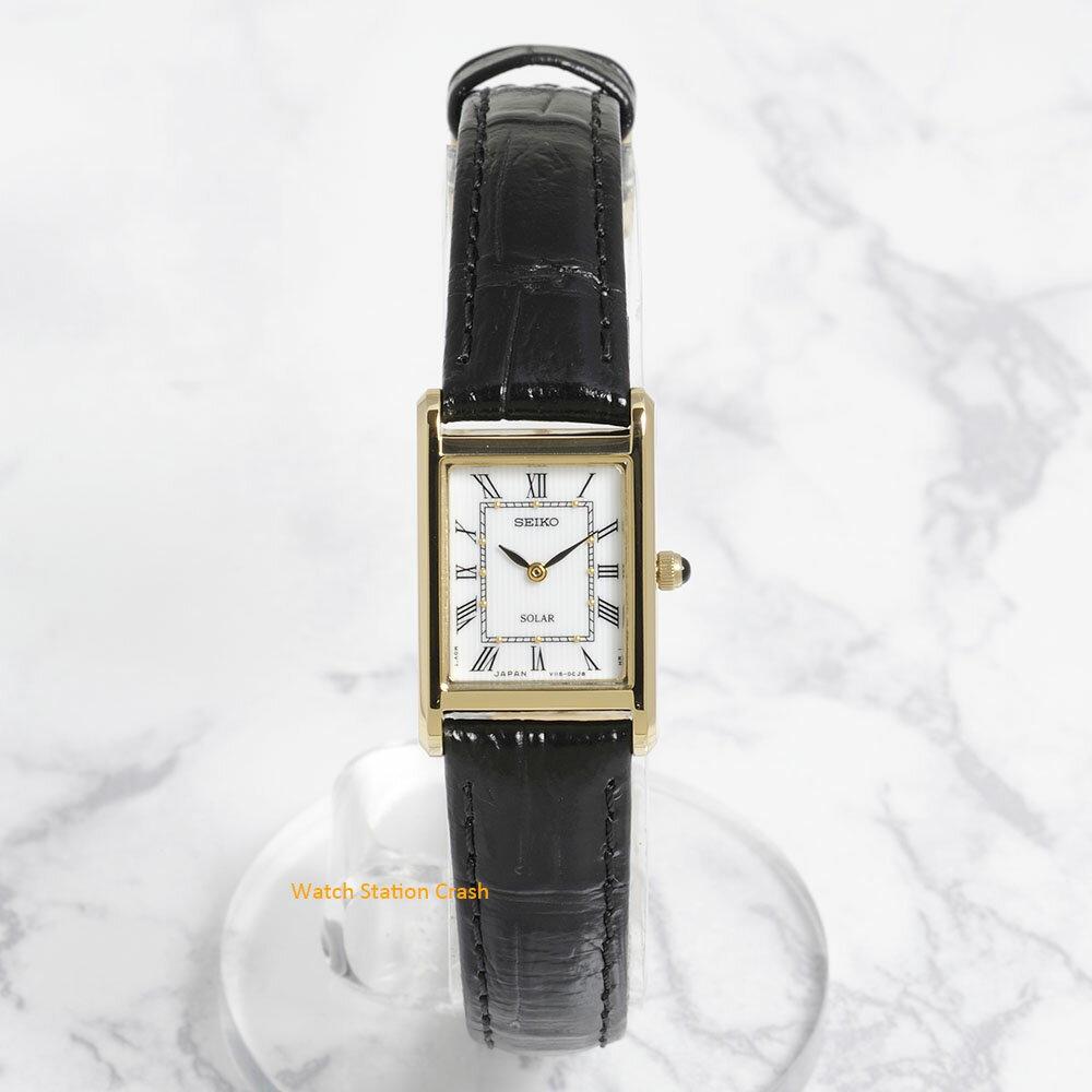 SEIKO セイコー 腕時計 レディース ソーラー SUP250 本革ベルト ゴールド 白文字盤[送料無料][あす楽]