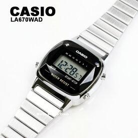 【天然ダイヤモンド】【5年保証】腕時計 レディース CASIO LA670WAD-1 LA-670WAD-1 デジタル シルバー ブラック カットガラス チープカシオ チプカシ BOXなし メール便で発送