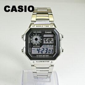 【5年保証】【送料無料】腕時計 メンズ デジタル CASIO カシオ AE-1200WHD-1A AE1200WHD-1 チープカシオ チプカシ メタル シルバー 10気圧防水 ワールドタイムなど多機能 BOXなし