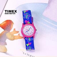 KidsこどもTIMEXタイメックスタイムティーチャーT89001女の子キッズ子供アナログピンクブルー布ゴムバンド