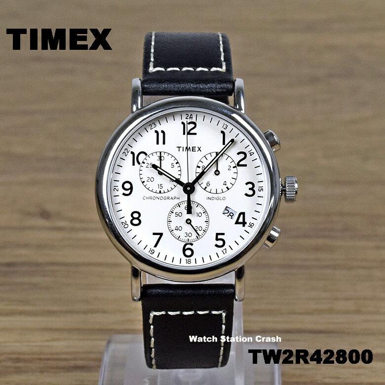 """[日本未発売] TIMEX タイメックス TW2R428 TW""""R42800 ウィークエンダーセントラルパーク 人気のクロノグラフ 本革ベルト 40mm メンズ 腕時計 男性 ウォッチ アナログ 黒 ブラック シルバー カジュアル ギフト プレゼント クォーツ"""