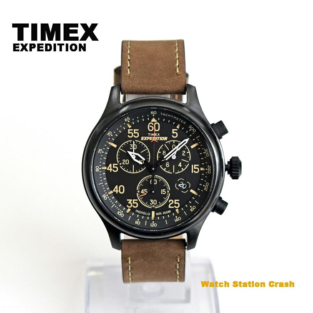 TIMEX タイメックス エクスペディション T49905 ミリタリーフィールド クロノグラフ ブラウン革ベルト メンズ 腕時計 男性 おしゃれ アナログ ユニセックス クラシカル プレゼント ギフト カジュアル かっこいい