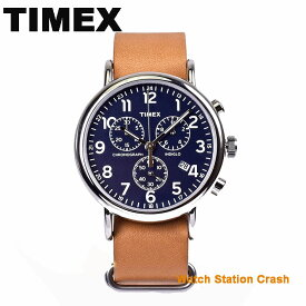 TIMEX 腕時計 TW2P62300 メンズ レディース クロノグラフ タイメックス ウィークエンダー 革ベルト ネイビー ブラウン おしゃれ カジュアル 贈り物 プレゼント お祝い 誕生日