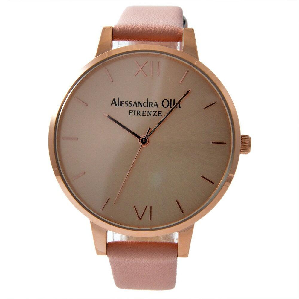 [送料無料]Alessandra OllaアレサンドラオーラAO25-4 (AO-25-4) ピンクゴールド×ピンクスタイルを選ばないシンプルなレディース腕時計
