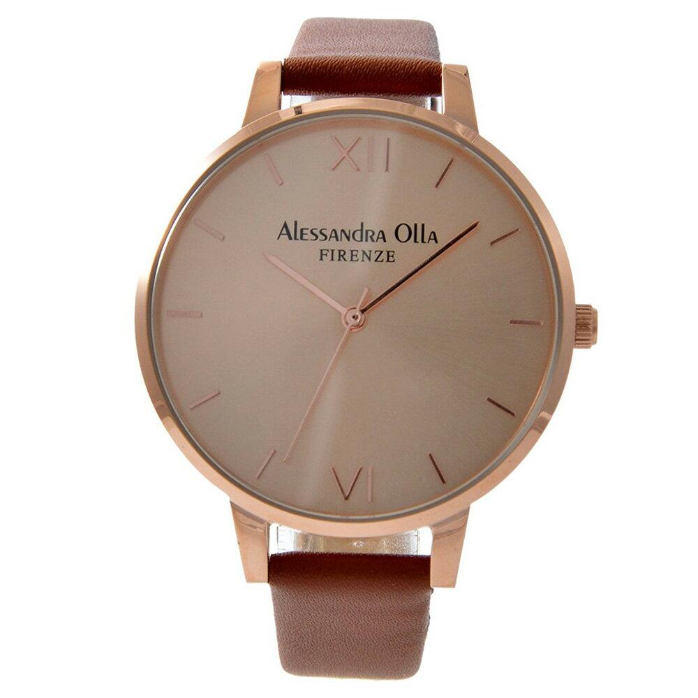 [送料無料]Alessandra Olla アレサンドラオーラAO25-5 (AO-25-5) 本革ベルト ピンクゴールド×ブラウンスタイルを選ばないシンプルなレディース 腕時計