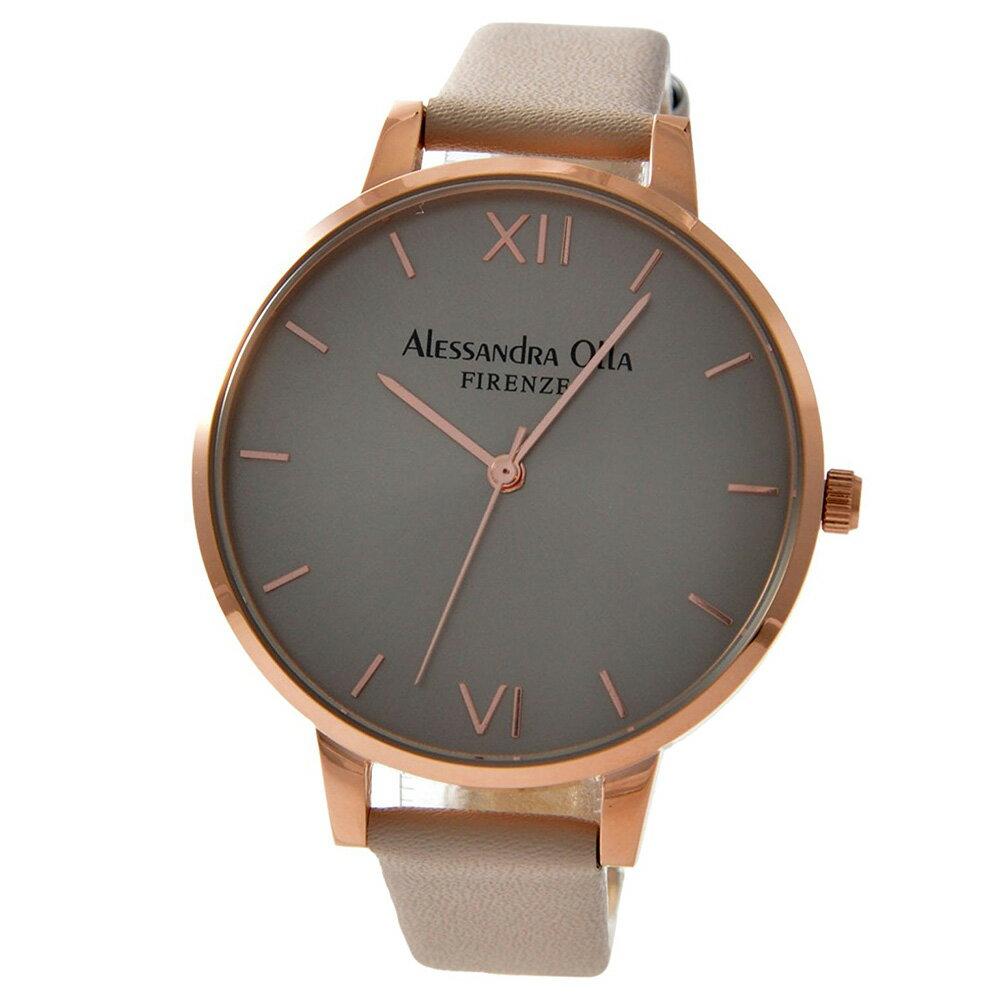 [送料無料][あす楽] Alessandra Olla アレサンドラオーラ AO25-6 (AO-25-6) 本革ベルト ピンクゴールド×アイボリー スタイルを選ばないシンプルなレディース腕時計