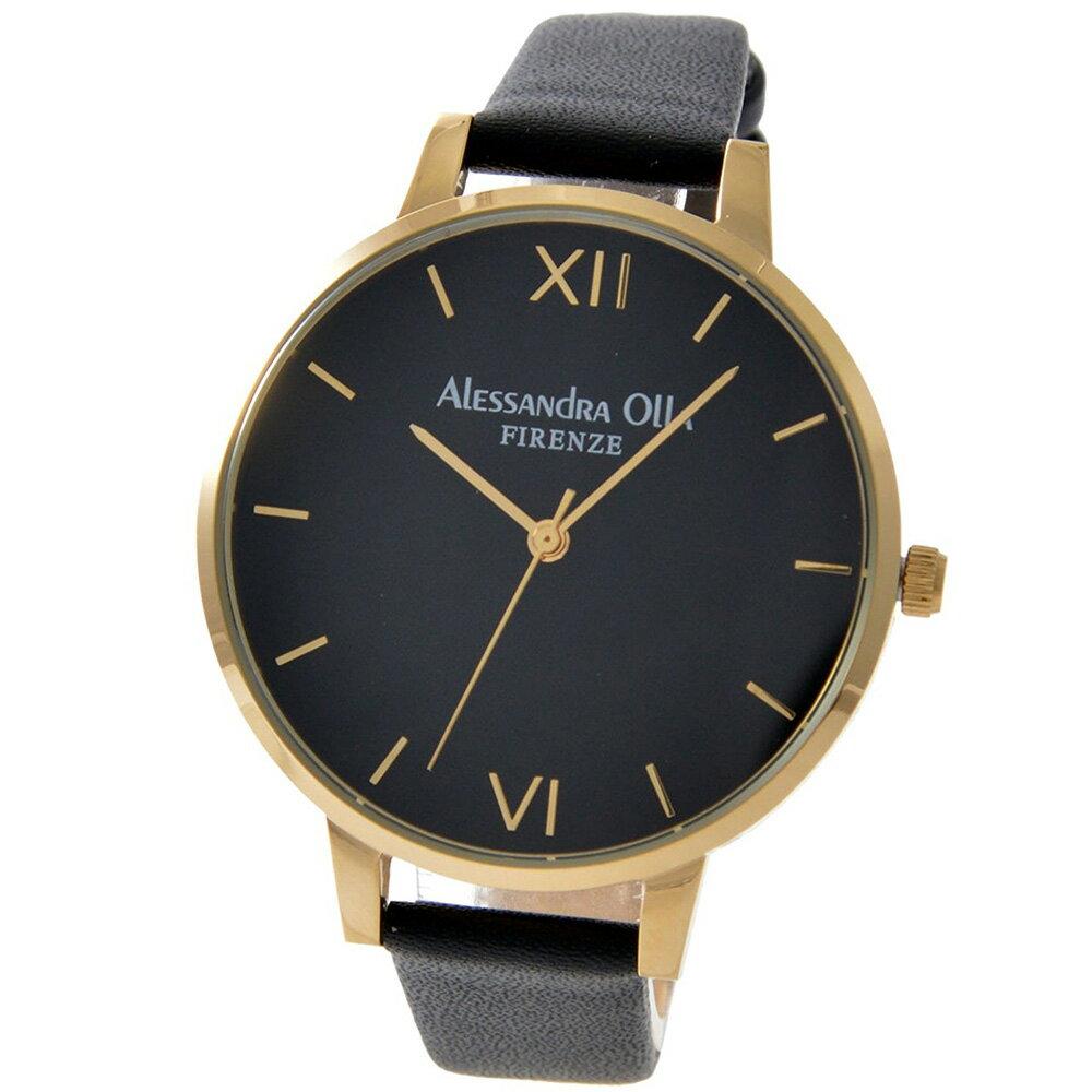[送料無料][あす楽] Alessandra Olla アレサンドラオーラ AO25-10(AO-25-10) ゴールド×ブラック 本革 レディース腕時計