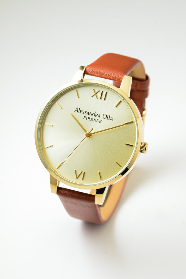 Alessandra Olla アレサンドラオーラ AO25-8 (AO-25-8) ゴールド×ブラウン 本革 レディース腕時計