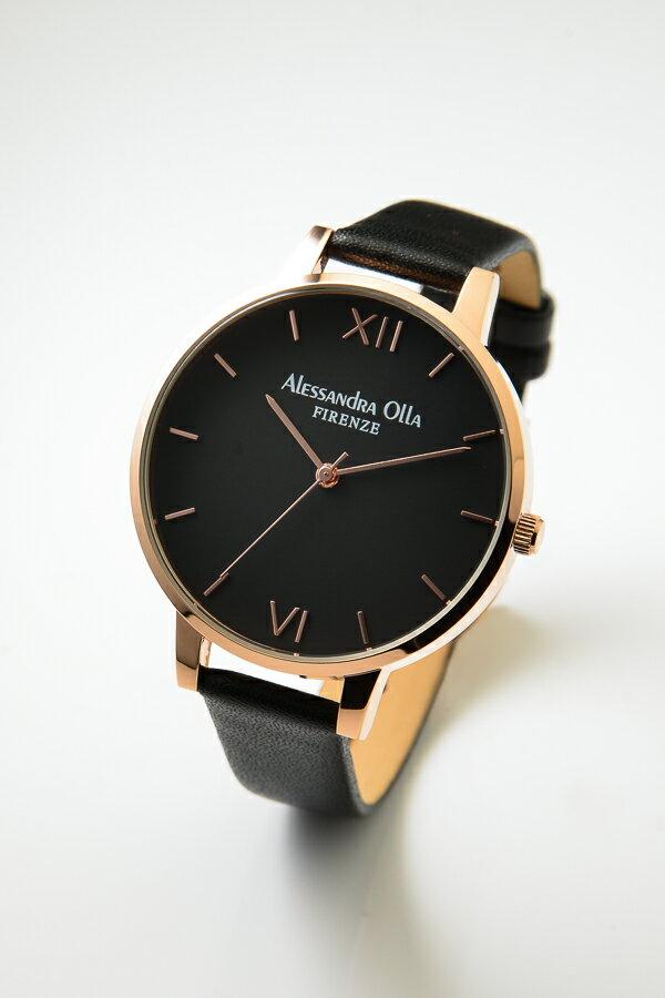 [送料無料][あす楽] Alessandra Olla アレサンドラオーラ AO25-7 (AO-25-7) ブラック×ピンクゴールド 本革 レディース腕時計