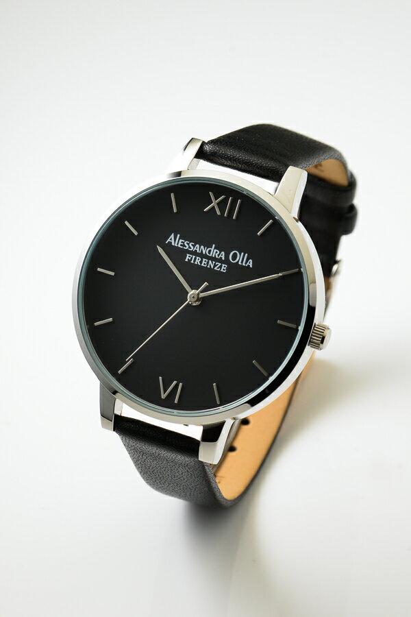 [送料無料][あす楽] Alessandra Olla アレサンドラオーラ AO25-3(AO-25-3) ブラック×シルバー 本革ベルト スタイルを選ばないシンプルなレディース 腕時計