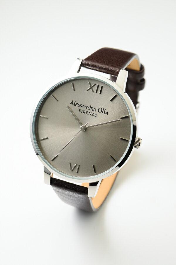 [送料無料]Alessandra Olla アレサンドラオーラAO25-2(AO-25-2) シルバー×ダークブラウン 本革ベルト スタイルを選ばないシンプルなレディース腕時計
