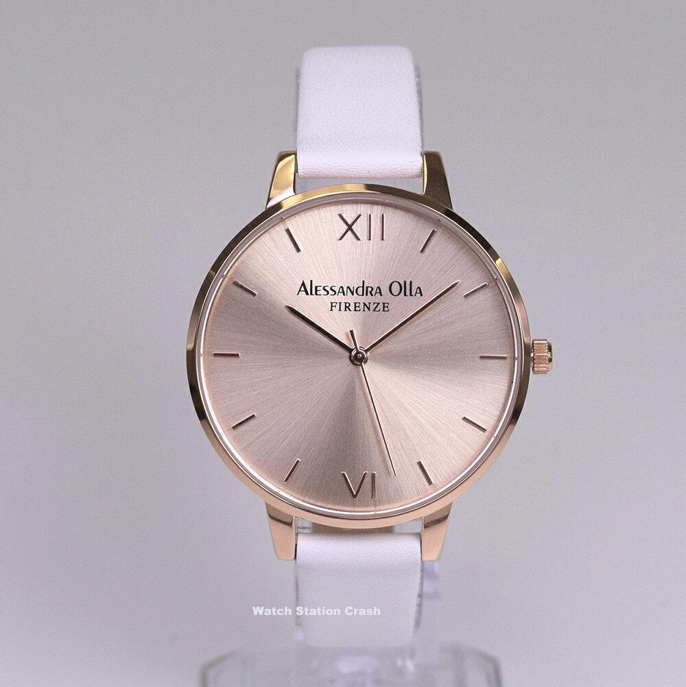【 NEW 】Alessandra Olla アレサンドラオーラAO-25-11(AO25-11) ローズゴールド×ホワイト 本革カーフベルト スタイルを選ばないシンプルなレディース腕時計