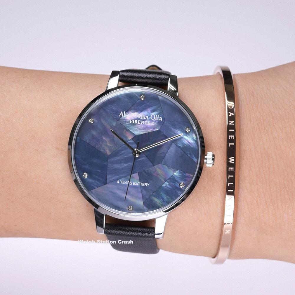 Alessandra Olla アレサンドラオーラ AO-15-1 (AO15-1) マザー オブ パール シルバー/ブラック 本革レザー ストラップ レディース腕時計