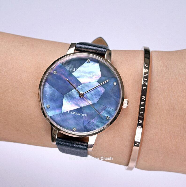 【限定モデル】プレゼント♪ Alessandra Olla AO-15-2 ローズゴールド×ブラック マザー オブ パール ラインストーン 革ベルトは肌触りのよい柔らかな質感 レディース腕時計
