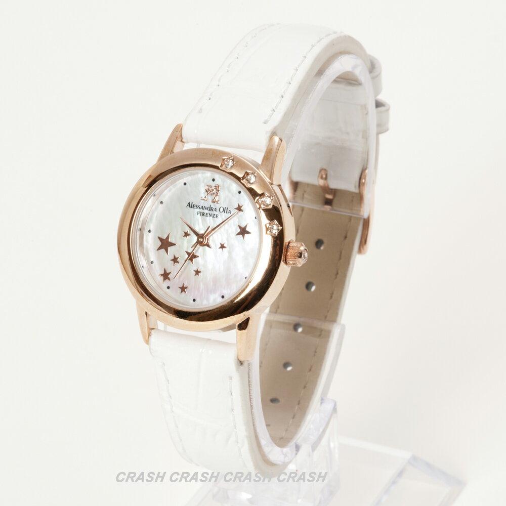 [送料無料]Alessandra Ollaレディース腕時計 AO810 WH天然ダイヤモンド/シェル文字盤/ホワイト革ベルト[あす楽]