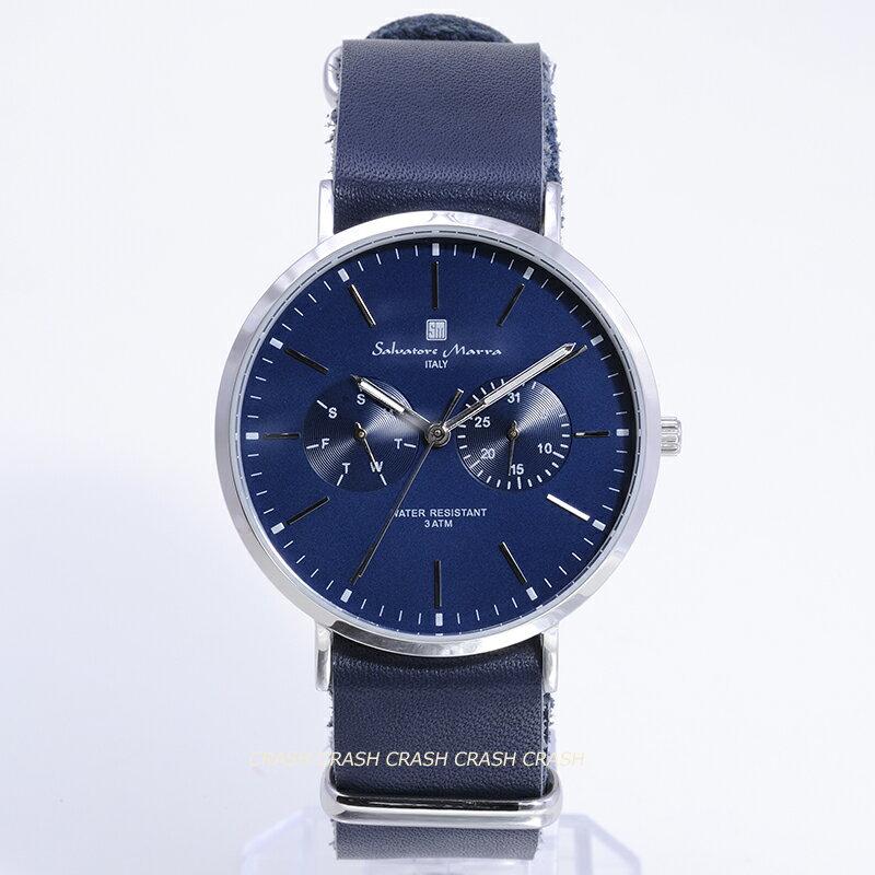 Salvatore Marraサルバトーレ マーラ 時計メンズ レディース腕時計SM15117SSNVSVデイデイト 24時間針シルバー/ネイビー革ベルト[ポイント5倍][送料無料]