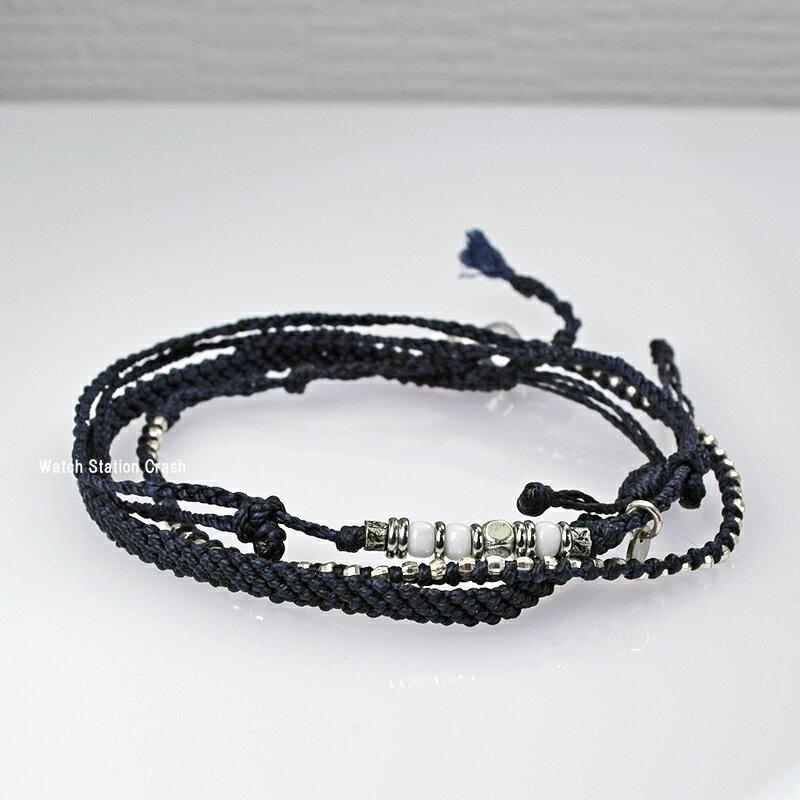 wakamiワカミwa-bc18017(bc17034) ブラックアンクレット 3ストランドグアテマラ共和国 フェアトレード商品 送料無料(ネコポス便発送)