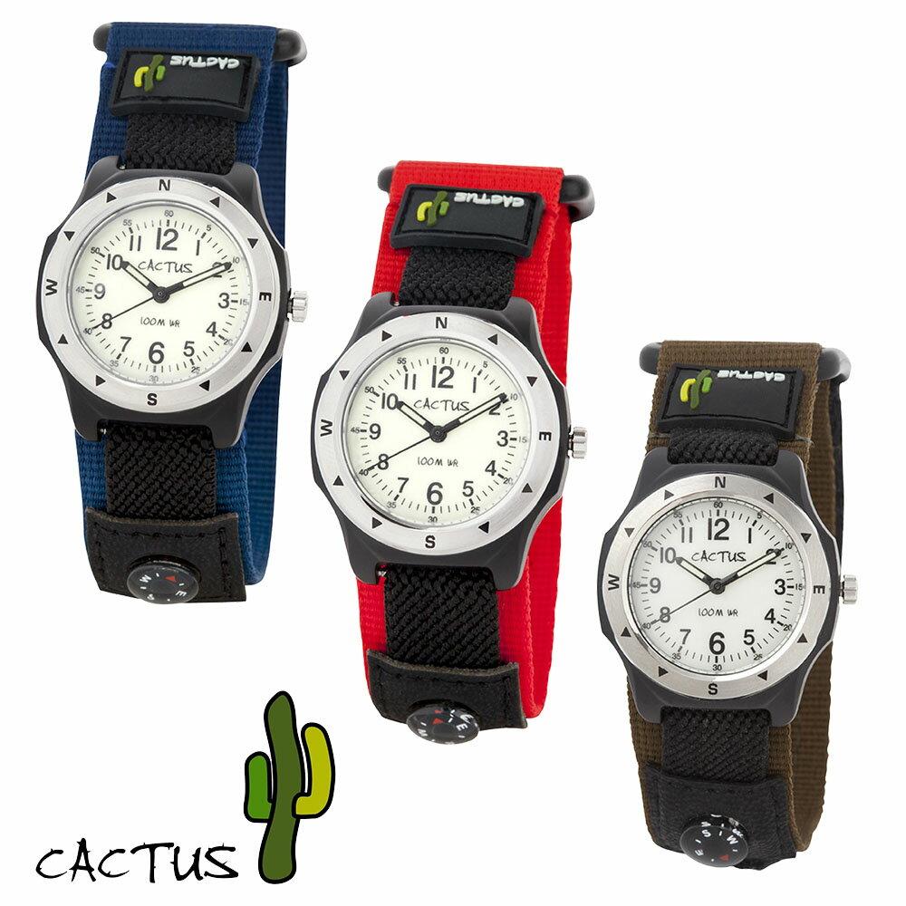 【ポイント10倍】[安心の日本正規品] カクタス CACTUS 腕時計 キッズ CAC65M03(ブルー) CAC65M07(レッド) CAC65M12(カーキ)全3色 100m 防水 機能 マジックテープ こども 子供 子ども Kidz 男の子 女の子 幼稚園 誕生日 メール便