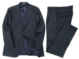 MACKINTOSH LONDON マッキントッシュ ロンドン 日本製 ストライプ柄 2B ウール シングル スーツ セットアップ ジャケット パンツ ネイビー AB6 ▲250▼90522t02