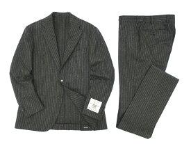 MACKINTOSH LONDON マッキントッシュ ロンドン 英国製生地 FOX BROTHERS NEWBRIDGE チョークストライプ スーツ 日本製 ウール100% 2B シングル ジャケット パンツ ダークグレー 38R-01 38L-02▲300▼90515a01