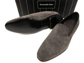 イタリア製 Ermenegildo Zegna エルメネジルド ゼニア A1984X SHOES SLIPON スウェードレザー ローファー モカシン スリッポン シューズ 靴 9 3E(グレー) /ym180802-6