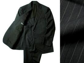 J∞Quality 定価9.6万 D'URBAN ダーバン MONSOON ウール100% ピンストライプ柄 シングルスーツ ジャケット パンツ 濃灰 A6-01 AB5-02 AB8-03 /yo190212_2w