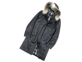 美品 国内正規品 BURBERRY BLACK LABEL バーバリーブラックレーベル フォックスファー レザー 中綿 コート ジャケット M /ka20180515-6 /メンズ