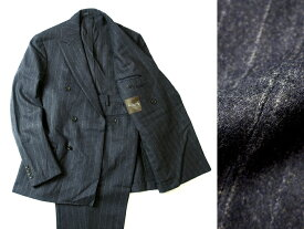 日本製 定価17.2万 MACKINTOSH LONDON マッキントッシュ 英国製生地使用 フランネル ウール100% ストライプ ダブルスーツ ジャケット パンツ 紺 ki190214_4w