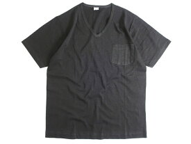 GICIPI ジチピ イタリア製 シルケット加工 コットン100% 薄手 ポケット付 Vネック 半袖 Tシャツ チャコール 4▲010▼91009k01