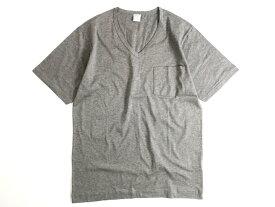GICIPI ジチピ イタリア製 シルケット加工 コットン100% 薄手 ポケット付 Vネック 半袖 Tシャツ グレー 3-01 5-02▲010▼91009k02