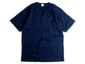 GICIPI ジチピ イタリア製 シルケット加工 コットン100% 薄手 ポケット付 Vネック 半袖 Tシャツ ネイビー 3▲010▼91009k03
