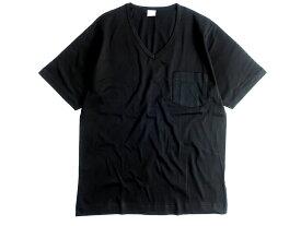 GICIPI ジチピ イタリア製 シルケット加工 コットン100% 薄手 ポケット付 Vネック 半袖 Tシャツ ブラック 3-01 5-02▲010▼91009k04
