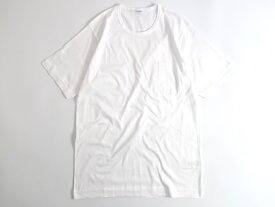 GICIPI ジチピ イタリア製 シルケット加工 コットン100% 薄手 ポケット付 クルーネック 半袖 Tシャツ ホワイト 4▲010▼91009k05