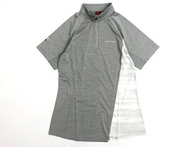 mont-bell モンベル COOL ZONE ハイストレッチ ハーフジップ 半袖 Tシャツ カットソー 登山 トレッキング グレー S-01 L-02▲019▼00526k16