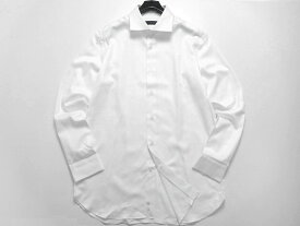 D'URBAN ダーバン ヘリンボーン柄 コットン100% ワイドカラー 長袖シャツ ドレスシャツ 定1.6万 ホワイト M-01 L-02 LL-03▲020▼00722k07