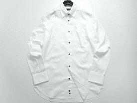 D'URBAN ダーバン シャドーストライプ コットン100% レギュラーカラー スナップダウン 長袖シャツ ドレスシャツ 定1.6万 ホワイト M-01 L-02▲020▼00722k10