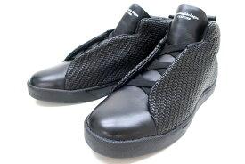 Ermenegildo Zegna Couture エルメネジルドゼニア イタリア製 本革 A2896X TITO SNEAKER HIGH イントレ レザー ハイカットスニーカー シューズ 靴 定11.9万 ブラック 10▲110▼00825k04