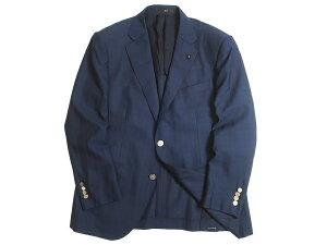 DAKS LONDON ダックス 日本製 ウール混 ロゴ刻印メタルボタン シャドーチェック 2B テーラードジャケット ブレザー 定9.7万 ネイビー AB5▲180▼01210k14