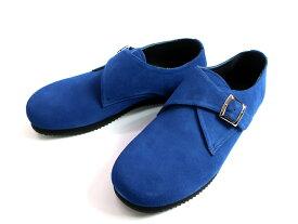 UNUSED×suicoke アンユーズド スイコック UH0455 Monk Strap Shoes  モンクストラップ スエード レザーシューズ 革靴 ラバーソール ブルー 27▲050▼00325a11