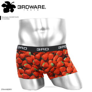3RDWARE/サードウェア ローライズ ボクサーパンツ メンズ 日本製 国産 下着 高級 Strawberry ストロベリー イチゴ カワイイ フルーツ オシャレ かわいい プチギフト ツルツル 誕生日プレゼント 彼