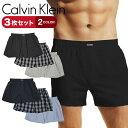 【3枚セット】Calvin Klein/カルバンクライン トランクス メンズ アンダーウェア 下着 パンツ 前開き 綿 無地 ロゴ チ…