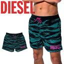 DIESEL/ディーゼル 水着 短パン サーフパンツ メンズ おしゃれ かっこいい ボードショーツ ゼブラ柄 ロゴ 海 水陸両用…