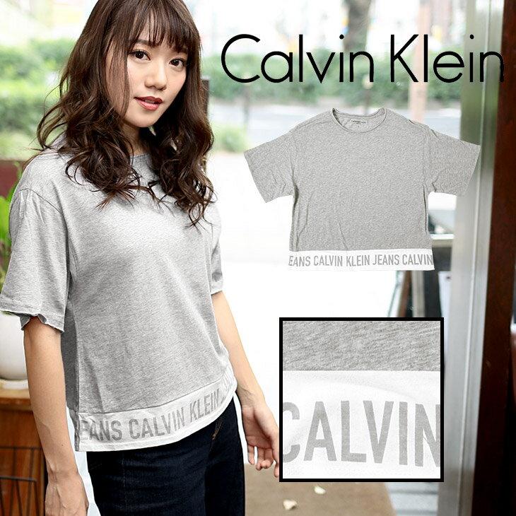 カルバンクライン Tシャツ レディース オーバーサイズ プルオーバー 5分袖 カットソー MAIN LINE LOGO シンプル オシャレ トップス クルーネック 半袖 CK カルバン Calvin Klein Jeans 誕生日プレゼント 彼女 女性 ギフト