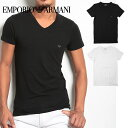 エンポリオアルマーニ/EMPORIO ARMANI Tシャツ メンズ 半袖 Vネック STRETCH COTTON ブランド ファッション トップス 誕生日プレゼント 彼氏 父 ギフト