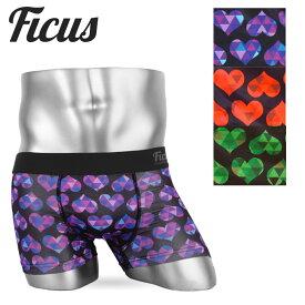 FICUS/フィークス ボクサーパンツ メンズ 日本製 国産 下着 おしゃれ Heart Scale pattern ハート プチギフト ツルツル 誕生日プレゼント 夏物 彼氏 父 男性 旦那 ギフト 記念日 only