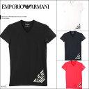エンポリオアルマーニ/EMPORIO ARMANI メンズ Vネック 半袖 Tシャツ HEXAGON PRINTED BIG EAGLE 男性 ブランド ファッ…