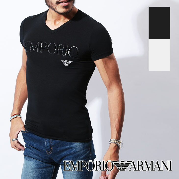 エンポリオ アルマーニ Tシャツ メンズ Vネック 半袖 SLEEVE イーグル ロゴ ブランド EMPORIO ARMANI 父の日 誕生日プレゼント 彼氏 父 男性 旦那 ギフト